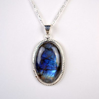 Genuine Labradorite Gemstone Sterling Silver Medallion Pendant Necklace With Sterling Silver Neck Chain
