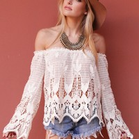 West Coast Wardrobe  Out West Crochet Lace Off the Shoulder Top in Natural