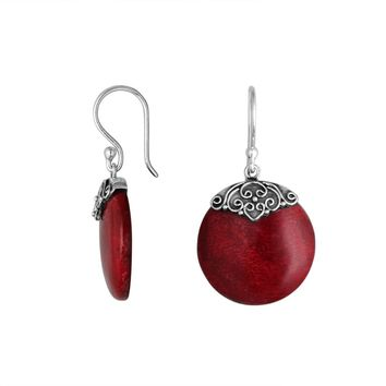 AE-6239-CR Sterling Silver Round Earring With Coral