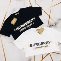 Burberry Double Logo Print Cotton Oversized T-shirt