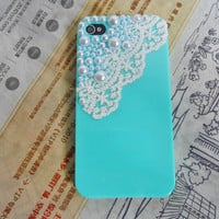 Fashion iphone Pearl lace shell blue hard case cover for apple iPhone 4 Case, iPhone 4s Case, iPhone 4 GS case,case cover -096