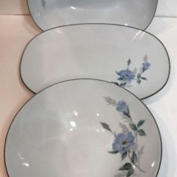 Noritake China Sylvia 3 Pc. Hostess Set Japan Vintag Blue Flowers Platinum Trim