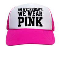 On Wednesdays We Wear Pink Trucker Hat - Hot Pink