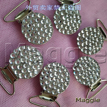 Free Shipping silver 12Pcs Bling Bling rhinestone crystal pacifier Duckbill clips accessories clip baby soother chain handmade