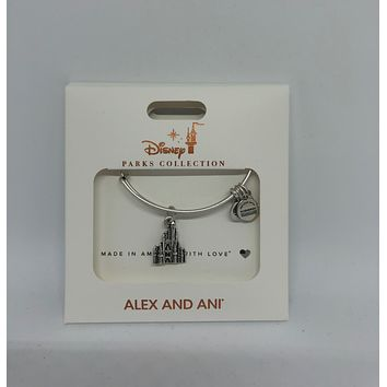 Disney Alex and Ani Parks Magic Kingdom Castle Bangle Silver Finish New Box