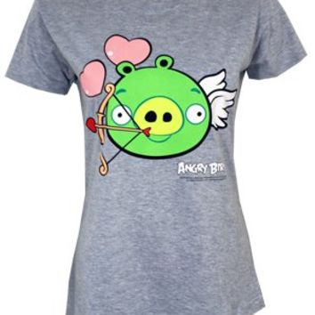 Angry Birds Cupid Pig Ladies Grey T-Shirt
