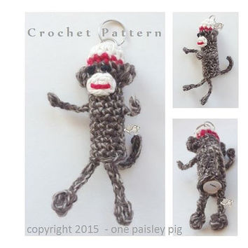 Sock Monkey Lip Balm Holder  - PDF CROCHET PATTERN for Tube Style (Chapstick, Burt's Bees etc)