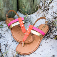 Sunshine Coast Flat Pink And Gold Thong Sandals