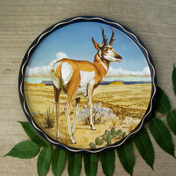 Vintage Metal Serving Tray, James L Artig , Rare Pronghorn Tray, 1960s Man Cave Decor