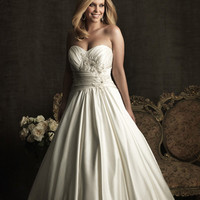 Ivory & Silver Gathered Embroidered Satin Strapless Sweetheart Empire Waist Wedding Gown - Unique Vintage - Cocktail, Pinup, Holiday & Prom Dresses.