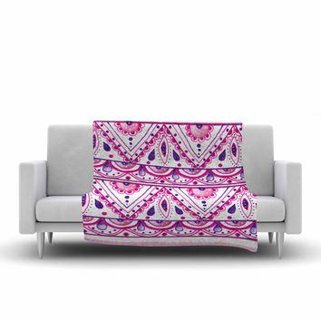 "Li Zamperini ""Aztec"" Magenta Pink Watercolor Fleece Throw Blanket"