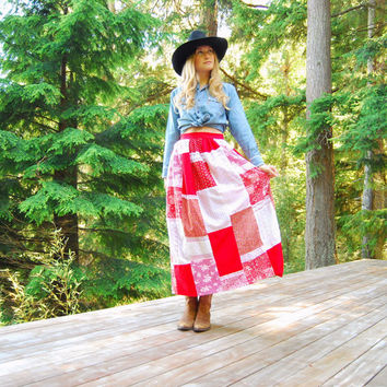 70s Folk Skirt Boho Cotton Patchwork Skirt, A Line Maxi Skirt Country Western Skirt  - Rockabilly Calico Skirt Red Prairie Bandana Skirt MED