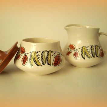 Mid Century Poole Pottery Sugar and Creamer Lucullus Design