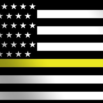 Thin Yellow Line American Flag License Plate