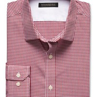 Banana Republic Mens Tailored Slim Fit Non Iron Micro Gingham Shirt