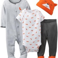 Carter's 4 Piece Layette Set (Baby) - Orange - Free Shipping