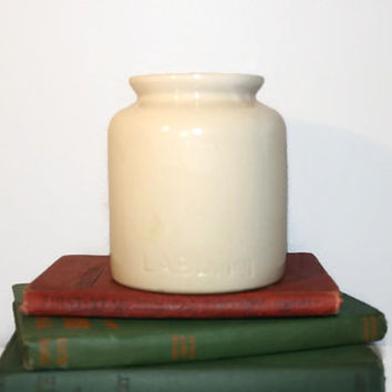 Vintage Lab-Lagny Mustard Crock,Pottery,French Country,Stoneware Crock,Kitchen,Office