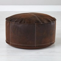 Sit in Style Leather Pouf in Soft Seating | The Land of Nod