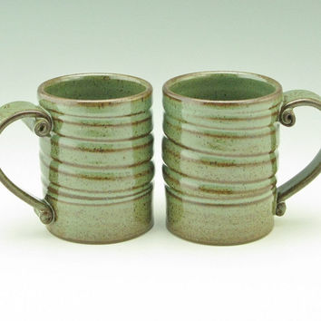 Pottery Coffee Mug Singles, Ceramic Cafe Style Spiral Beer Mug, Sturdy Sage Green 14 oz Stoneware Soup Mug, Gift Ideas