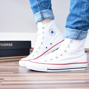 """""""Converse"""" Fashion Canvas Flats Sneakers Sport Shoes White high-tops"""