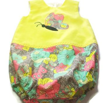 Baby Girl Bubble Romper, Baby Butterfly Outfit, Girls Romper, Girls one Piece Outfit, Baby girl Summer Clothes, Baby Girl Gift,