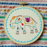 "Hand Embroidered Painted Elephant. Custom 5"" Embroidery Hoop Art. Hand Stitched Fiber Art. Hand Made By Hoopla."