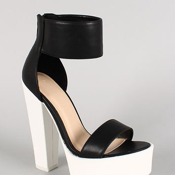 Wild Diva Lounge Two Tone Lug Sole Open Toe Heel