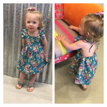 Baby & Toddler Turquoise Floral Halter Dress