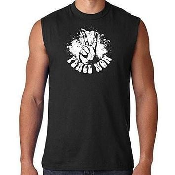 Mens Peace Now Sleeveless Muscle Tee Shirt