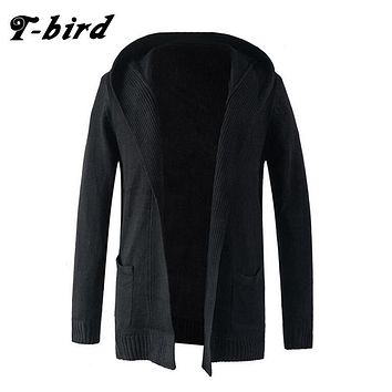 T-Bird Trench Caot Men 2017 Coat Male Sweater Knitting Jacket Men Double-Breasted Long Section Brand Outwear Men Cotton Jackets
