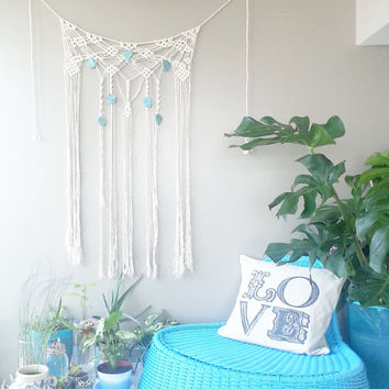Macrame Curtain- Macrame Wall Hanging~ Dorm Furniture~ Boho Wall Decor~ Wedding Decor~ Turquoise Wall Accent- Bohemian Decor- Boho Decor