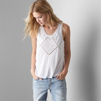 AEO Embroidered Lace Tank