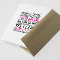 Sarcastic Thinking of You Card Lies Women Tell by NeatThings