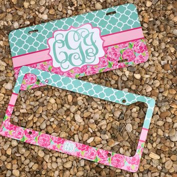 Monogram License Plate or Frame - Lily Pulitzer Inspired