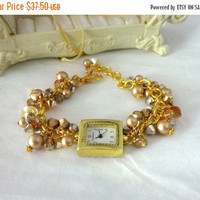 Gold Watch Bracelet, Victorian Gold Pearl Bracelet,  Gold Watch,  Victorian Jewelry,  Edwardian Jewelry,  Holiday Jewelry