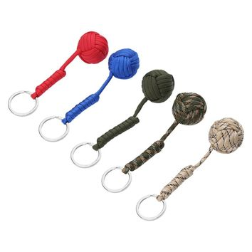 6 Colors Parachute Cord Self-protection Emergency Paracord Guy Line Survival Tool Key Ring With Steel Ball