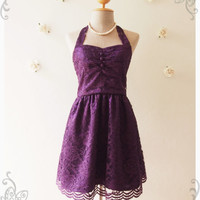 Royal Purple Lace Dress Purple Lace Dress Vintage Inspired Romantic Dress Lace Cocktail Dress Prom Dress Party Dress - Size XS-XL