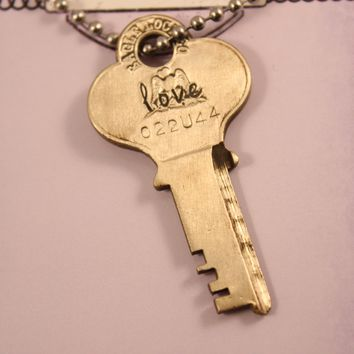 """love"" - Recycled Key Necklace - READY TO SHIP SAMPLE"