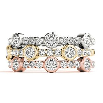 Stackables 1/2 Eternity Tri-Tone Gold Micro-Pave & Bezel-Set Diamonds 3-Band Set Selectables