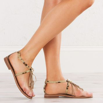 Leather Sandal in Leopard