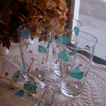 Vintage Mid Century Modern Amoeba Boomerang Drinking Glasses in Turquoise Blue by Federal Glass
