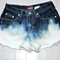 Bleach Dip Dyed High Waisted Denim Shorts