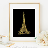 EIFFEL TOWER Faux Gold Foil Art Print