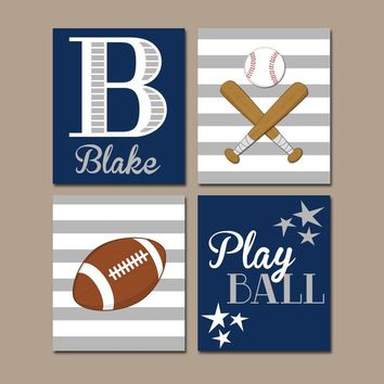 SPORTS Wall Art, Navy Sports Theme Decor, Sport Balls Quote, CANVAS or Prints, Football Baseball, Baby Boy Nursery Decor,  Set of 4 Pictures
