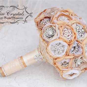 Brooch bouquet.cream and gold wedding brooch bouquet, Jeweled Bouquet.