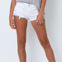 Go To Denim Shorts - White Distressed
