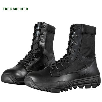 FREE SOLDIER outdoor tactical wear-resistant breathable hiking camping shoes,average height ankle boots