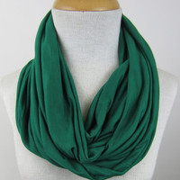 Green Infinity Scarf - Kelly Green Circle Scarf - Green Jersey Scarf