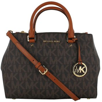 Michael Kors Sutton Medium Satchel N/S Travel Tote Handbag Brown