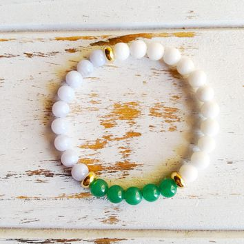 Increase Love, Luck & Patience ~ Genuine Blue Lace Agate, White Agate & Aventurine Bracelet w/ Gold Filled Accents